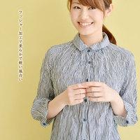 ストライプ柄ワッシャー加工7分袖シャツ