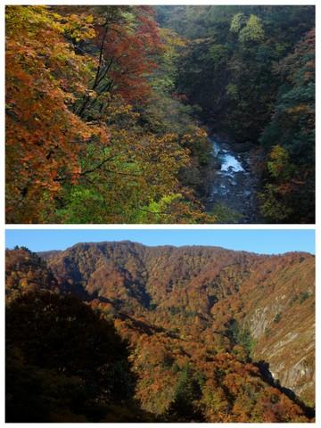 紅葉と岩峰