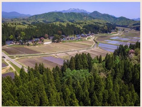 新屋上空から粟ヶ岳