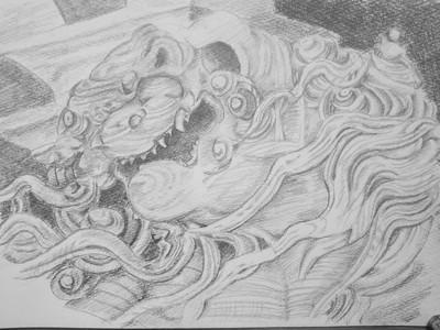 石川雲蝶の彫刻を描いてみた その七      「国内のコロナ陽性者数VS空港検疫で陽性となった人数その六」