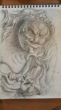石川雲蝶の彫刻を描いてみた その一
